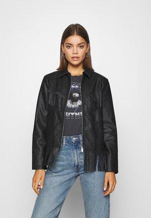 FRINGE JACKET - Faux leather jacket - black