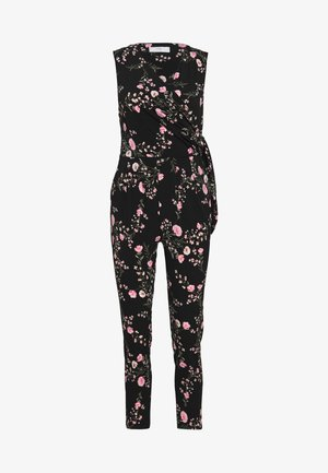 BLOSSOM FLORAL WRAP JUMPSUIT - Jumpsuit - black