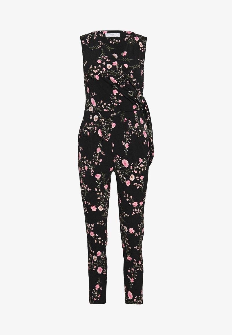 Wallis Petite - BLOSSOM FLORAL WRAP JUMPSUIT - Jumpsuit - black