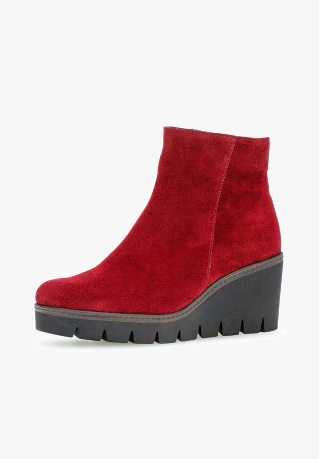 High heeled ankle boots - rot