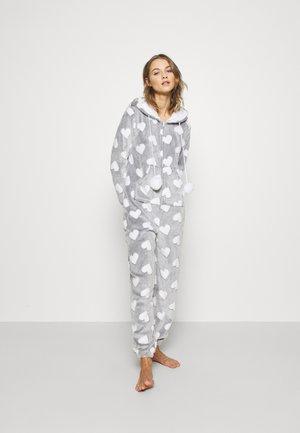 HEART LUXURY HOODED ONESIE - Pyjamas - grey