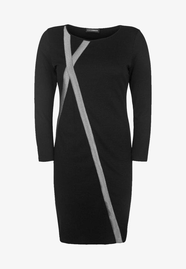 MIT GLITZERSTREIFEN - Jersey dress - black