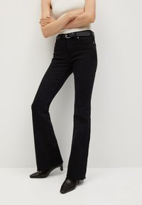 Mango - FLARE - Flared Jeans - black denim - 0