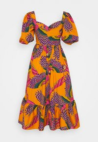 Farm Rio - BEADED MACAWS MIDI DRESS - Day dress - orange - 1