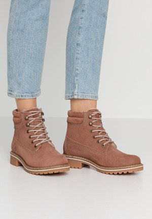 Lace-up ankle boots - old rose