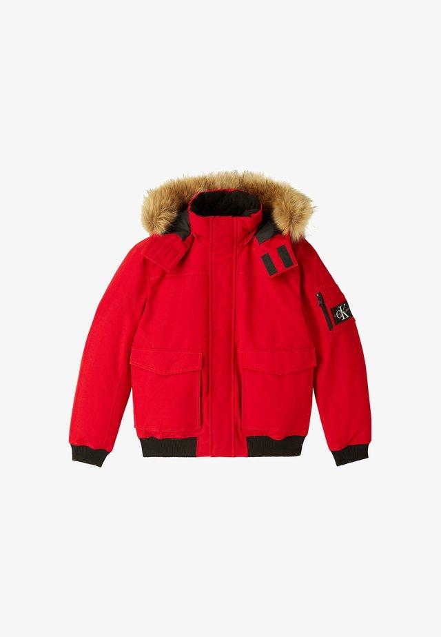 TRIMMED JACKET - Down jacket - red hot
