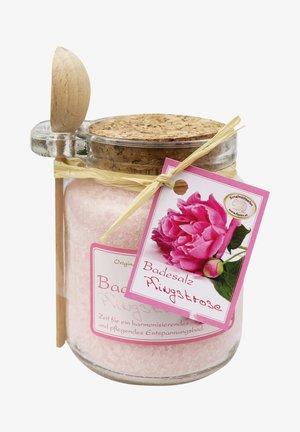 BADESALZ PFINGSTROSE GLAS MIT HOLZLÖFFEL 300 G - Bubble bath & soak - rosa