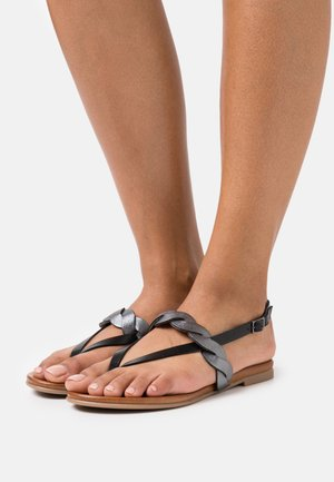 LEATHER - T-bar sandals - black
