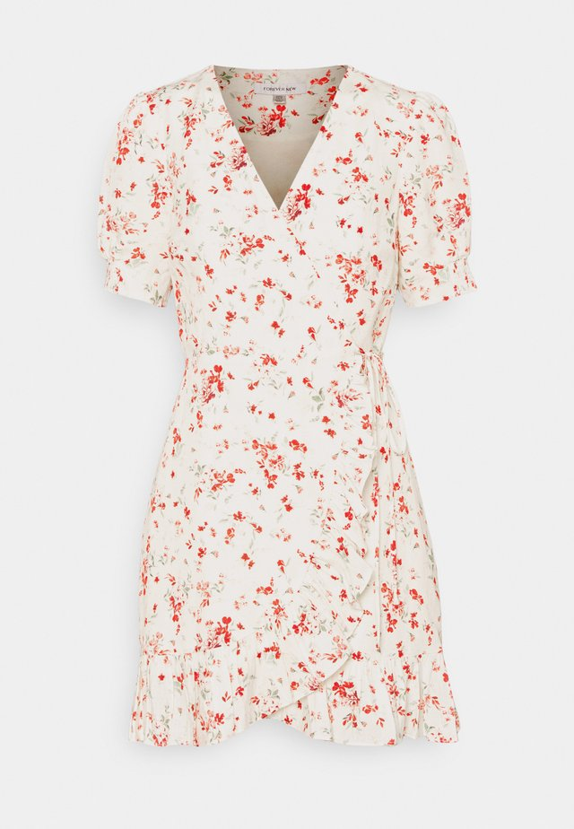 BOSTON WRAP SKATER DRESS - Korte jurk - savannah
