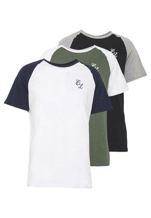 SIGNATURE RAGLAN TEE 3 PACK - Basic T-shirt - navy/white, grey marl/black, white/khaki