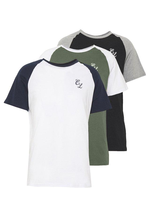 SIGNATURE RAGLAN TEE 3 PACK - T-Shirt basic - navy/white, grey marl/black, white/khaki