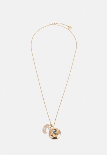 LONG CHAIN WITH LOCKET AND CHARMS - Necklace - blue/cream