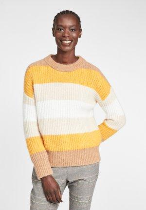 OVERSIZE MIT STREIFEN - Sweater - camel/yellow