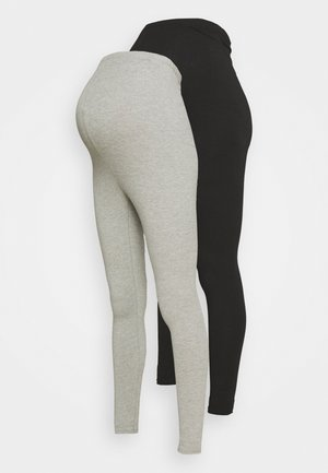 BASIC 2 PPACK - Leggings - black/grey marl