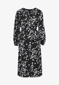 New Look - MIXED MONO FLORAL WRAP MIDI - Kjole - black - 0