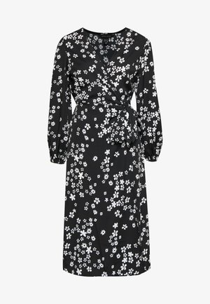 MIXED MONO FLORAL WRAP MIDI - Vestido informal - black