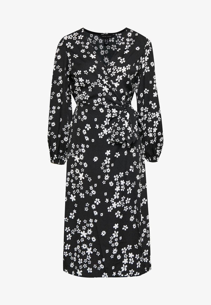 New Look - MIXED MONO FLORAL WRAP MIDI - Kjole - black