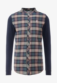 SIKSILK - LONG SLEEVE CHECK GRANDAD - Shirt - navy/tan - 4