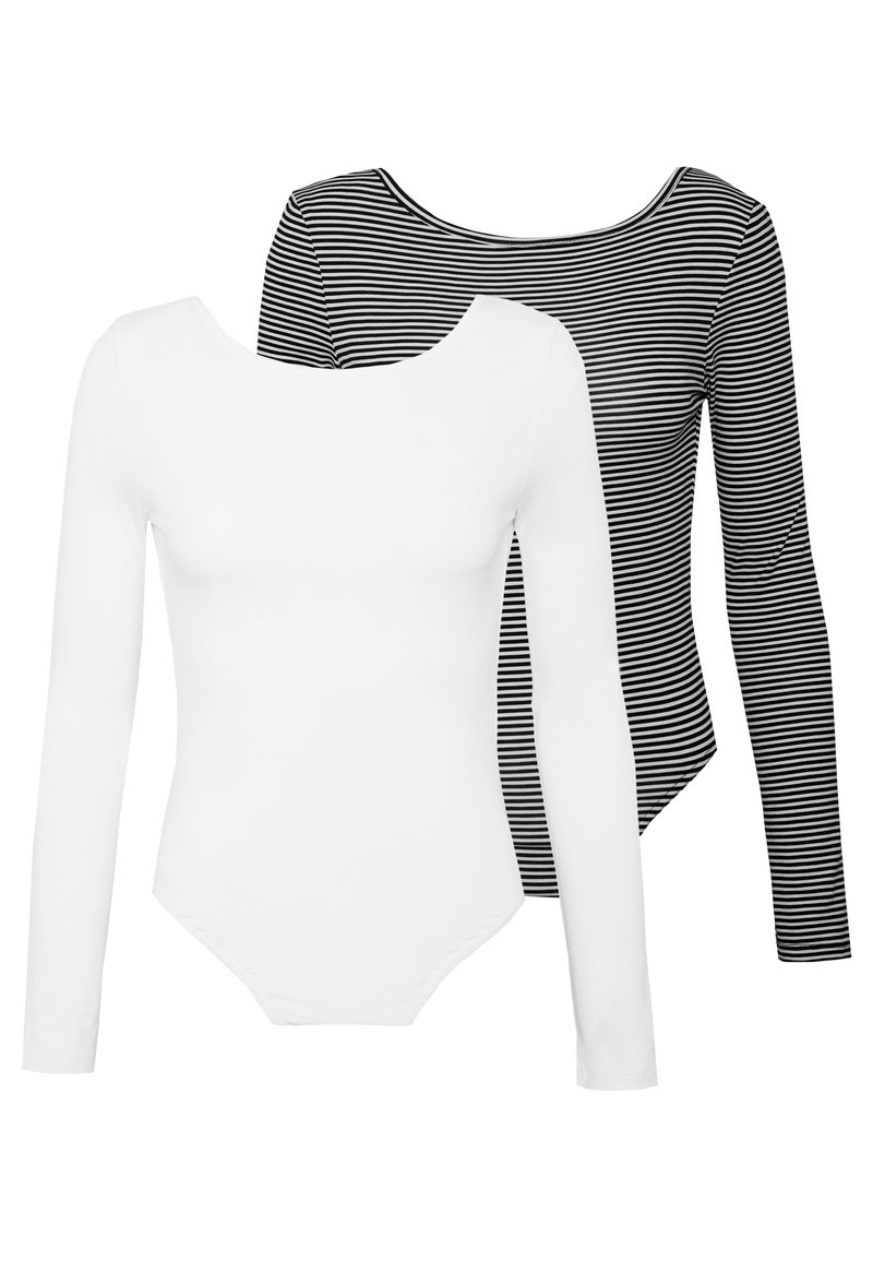 Missguided - LONG SLEEVE LOW BACK 2 PACK - Long sleeved top - white