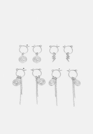 PCKAROLINE HOOP EARRING 4 PACK  - Øredobber - silver-coloured