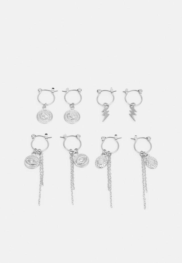 PCKAROLINE HOOP EARRING 4 PACK  - Øredobber - silver-coloured