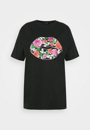 FLORAL LIPS SLOGAN - Print T-shirt - black
