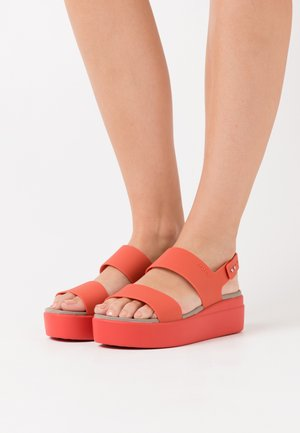 BROOKLYN LOW WEDGE - Platform sandals - spicy orange