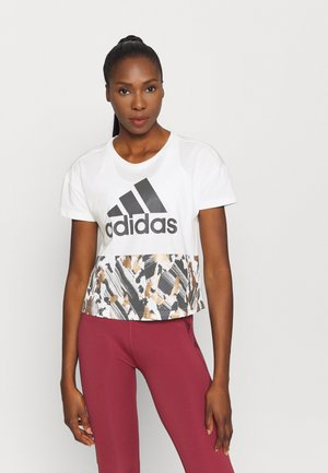 CROP  - T-Shirt print - cream white/black