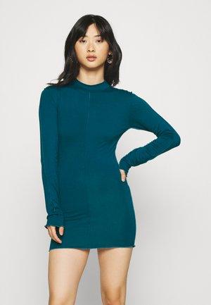 EXPOSED SEAM HIGH NECK LONG SLEEVE MINI - Jersey dress - blue