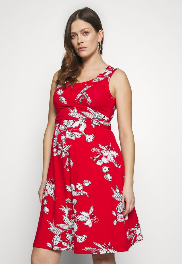 FLORAL SLEEVELESS MATERNITY AND NURSING TIE DRESS - Jerseykjole - red