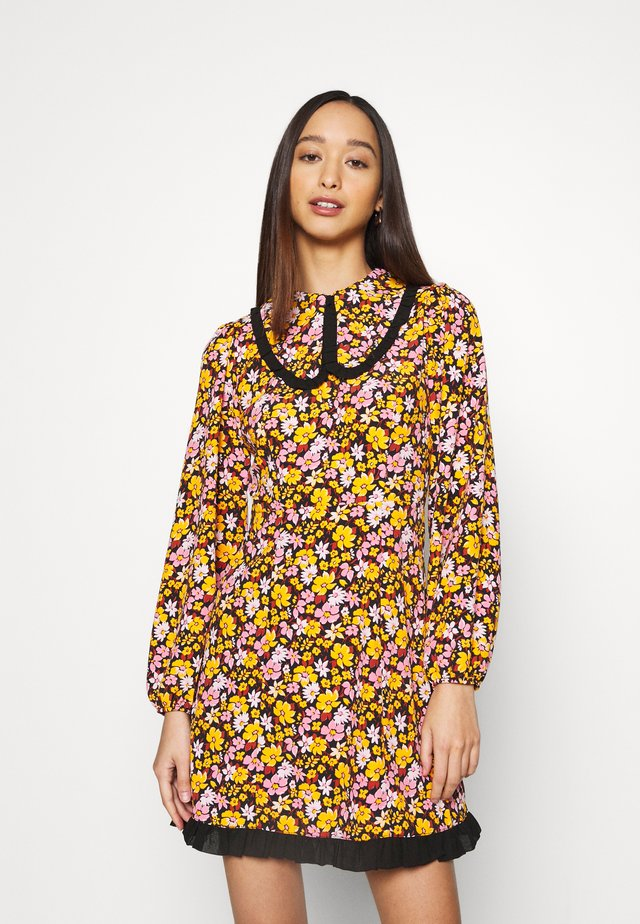 COLLAR FLORAL MINI DRESS - Robe d'été - multicolor