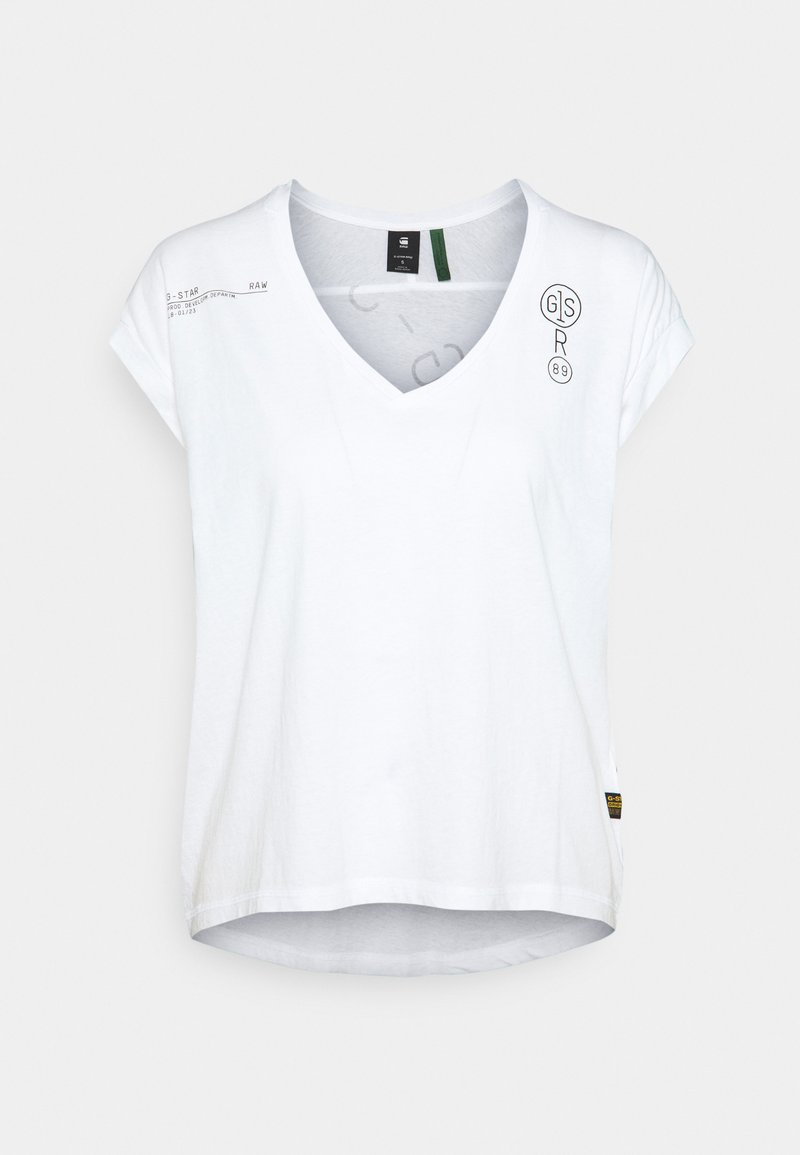 G-Star - BACKPRINT LOOSE V NECK - T-shirt print - white