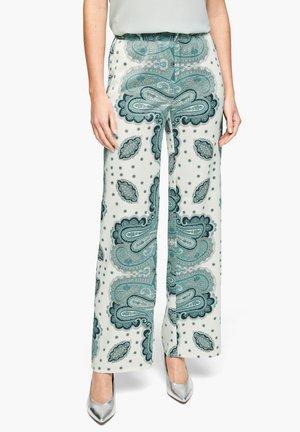 Trousers - white paisley print