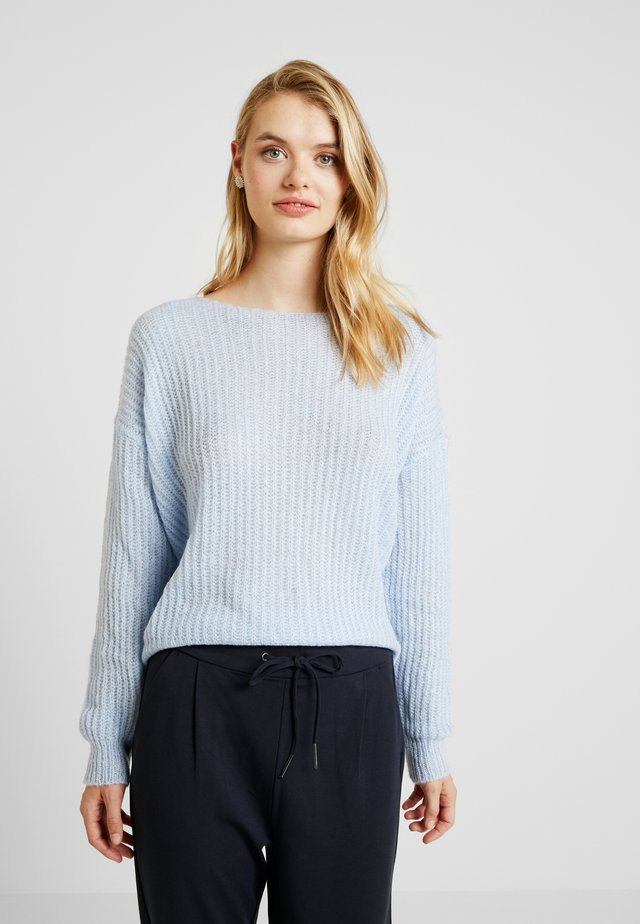 DEEP V BACK JUMPER - Pullover - pale blue