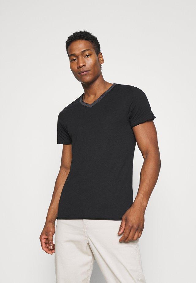 HAUS - T-shirts basic - jet black/dark charcoal marl