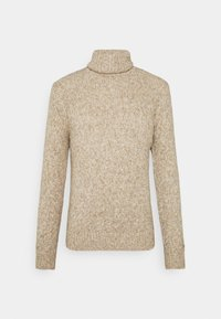TURTLE NECK SWEATER - Pullover - white/camel