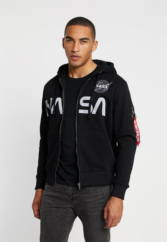 NASA ZIP HOODY - Zip-up hoodie - black