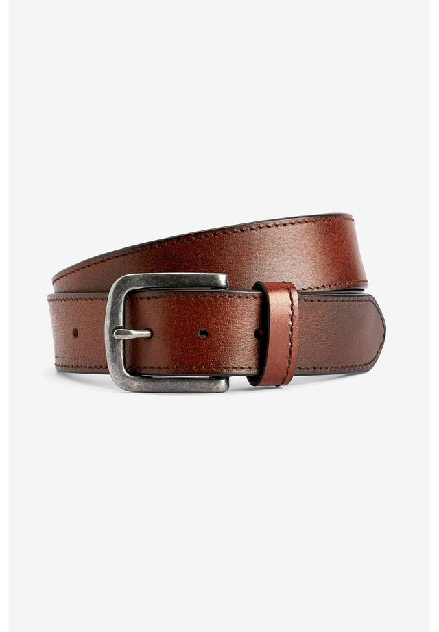 BROWN LEATHER CASUAL STITCHED EDGE BELT - Pásek - brown