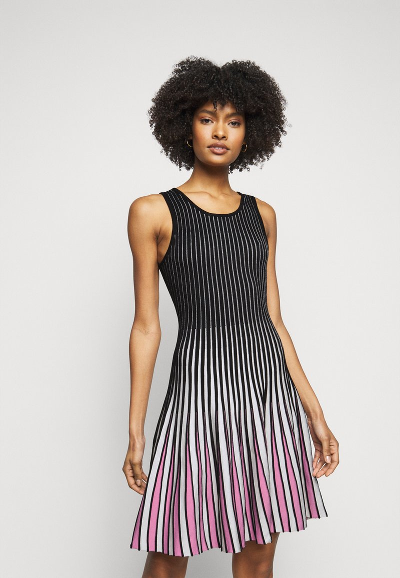 Milly - GODET STRIPE FIT AND FLARE - Cocktail dress / Party dress - black/multi