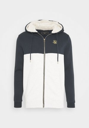 CUT AND SEW BORG ZIPTHROUGH HOODIE - Mikina na zip - navy/snow