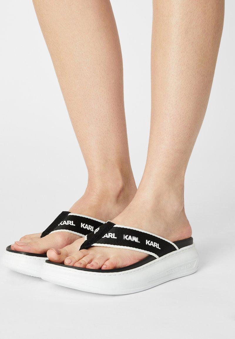 KARL LAGERFELD - KAPRI - T-bar sandals - black/white