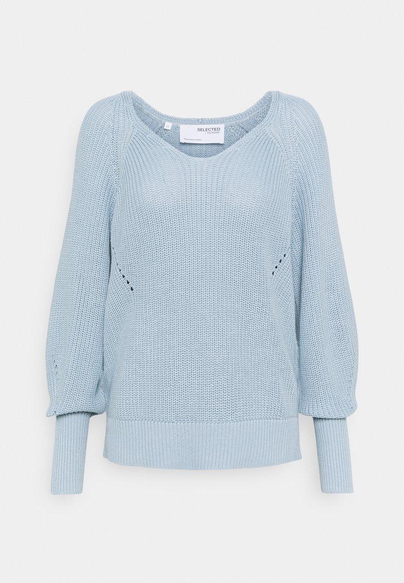 Selected Femme - SLFEMMY VNECK  - Jumper - cashmere blue
