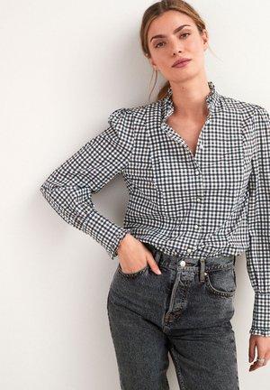 PLEAT FRONT - Button-down blouse - black