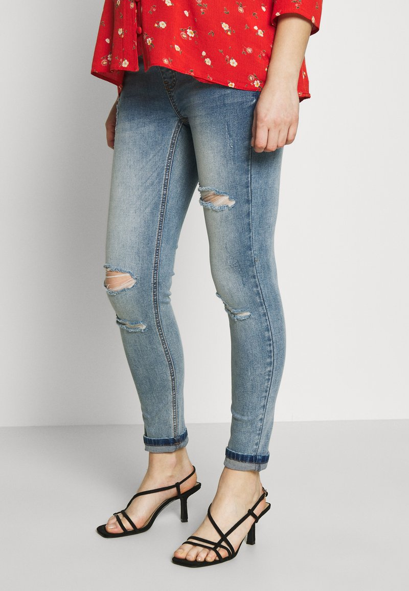 Missguided Maternity - SINNER OVER BUMP AUTHENTIC RIPPED - Jeans Skinny Fit - blue