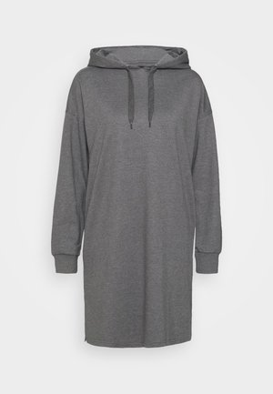 MINI HOODED LOOSE FIT DRESS - Day dress - mottled grey