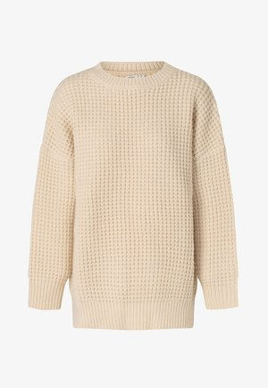 OVERSIZE WAFFLE KNIT - Pullover - off-white