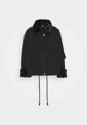 COLLAR JACKET - Denim jacket - black