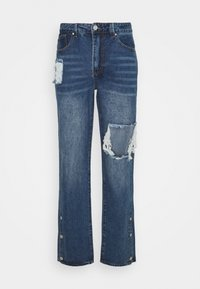 RIPPED LOOSE FIT POPPER - Jeans relaxed fit - blue
