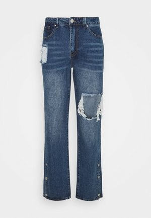 RIPPED LOOSE FIT POPPER - Relaxed fit jeans - blue
