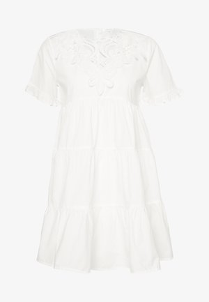 POPLIN CROCHET SMOCK DRESS - Vestido de cóctel - white
